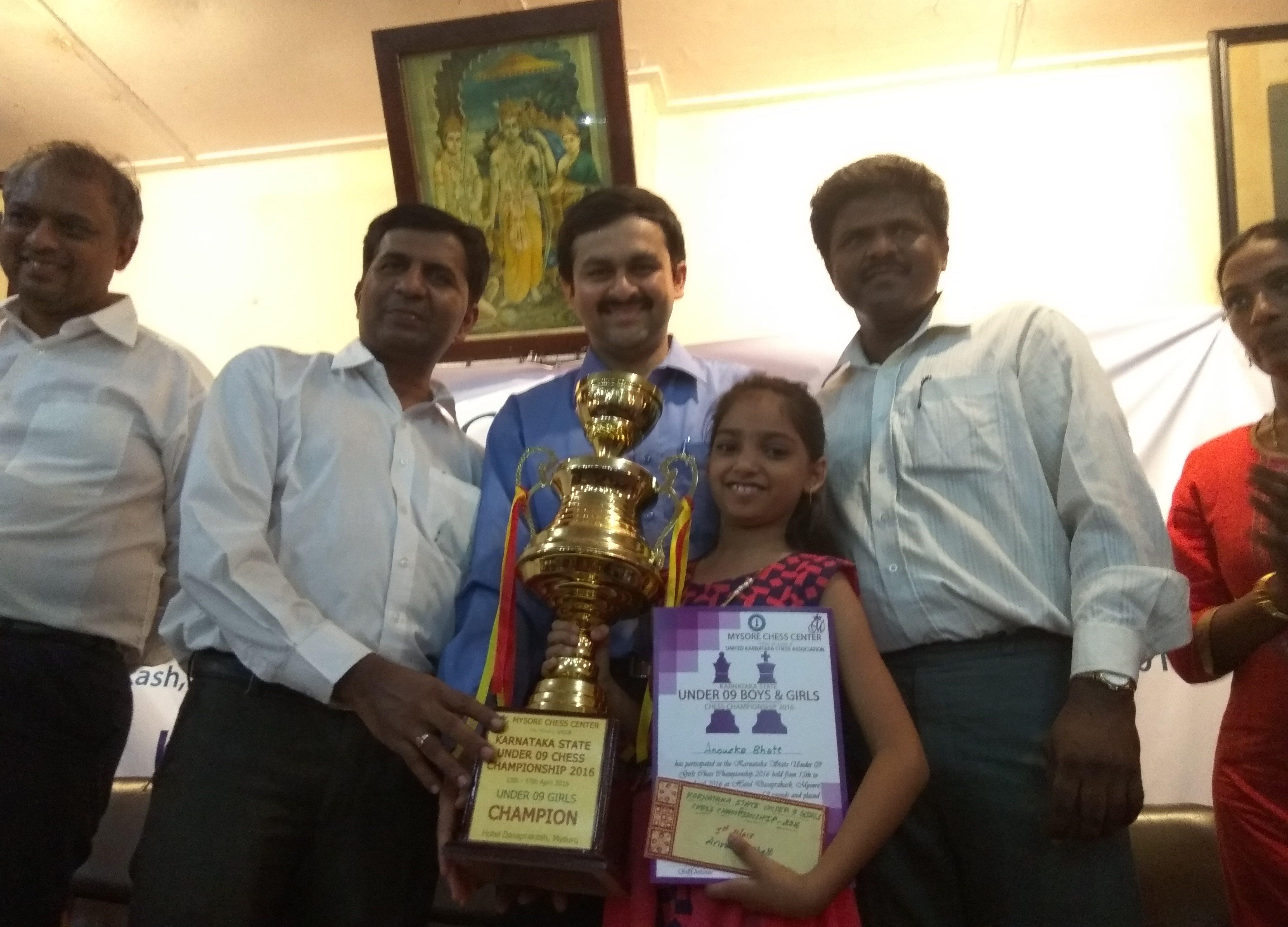 Anoushka Bhatt- Under-9 Karnataka State Girls Chess Champion 2016