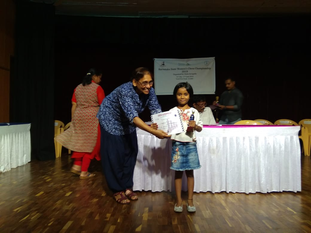 Dhanyatha H got 5th Prize in Karnataka State Women's Chess Championship