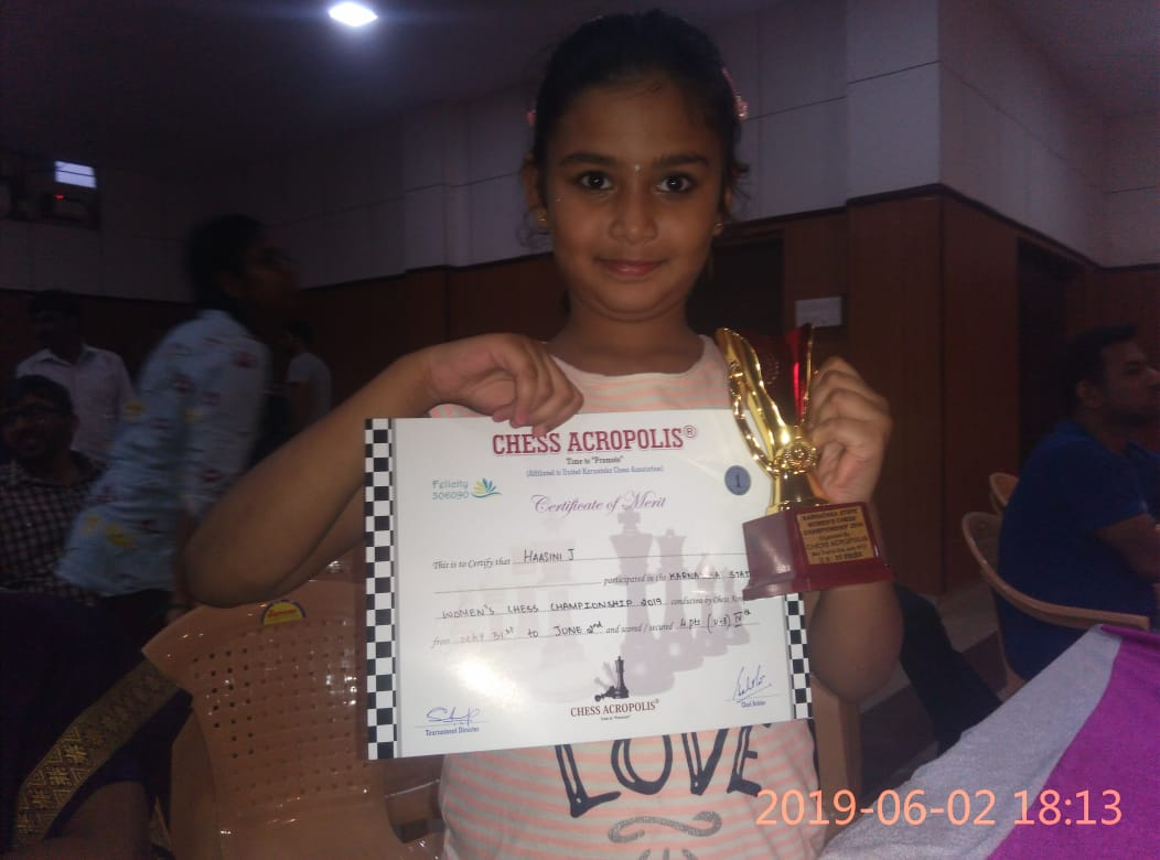 Haasini J got 4th Prize in Karnataka State Women's Chess Championship
